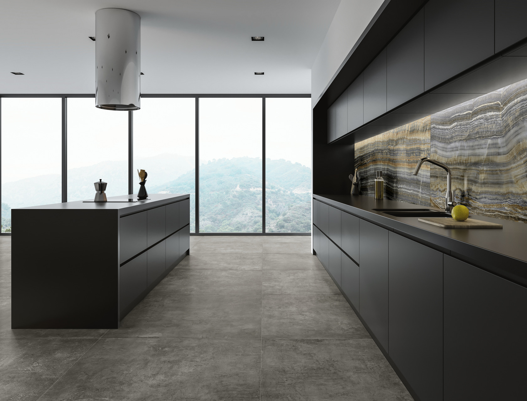 Cement / Resin Effect Porcelain Tiles Grey Clay