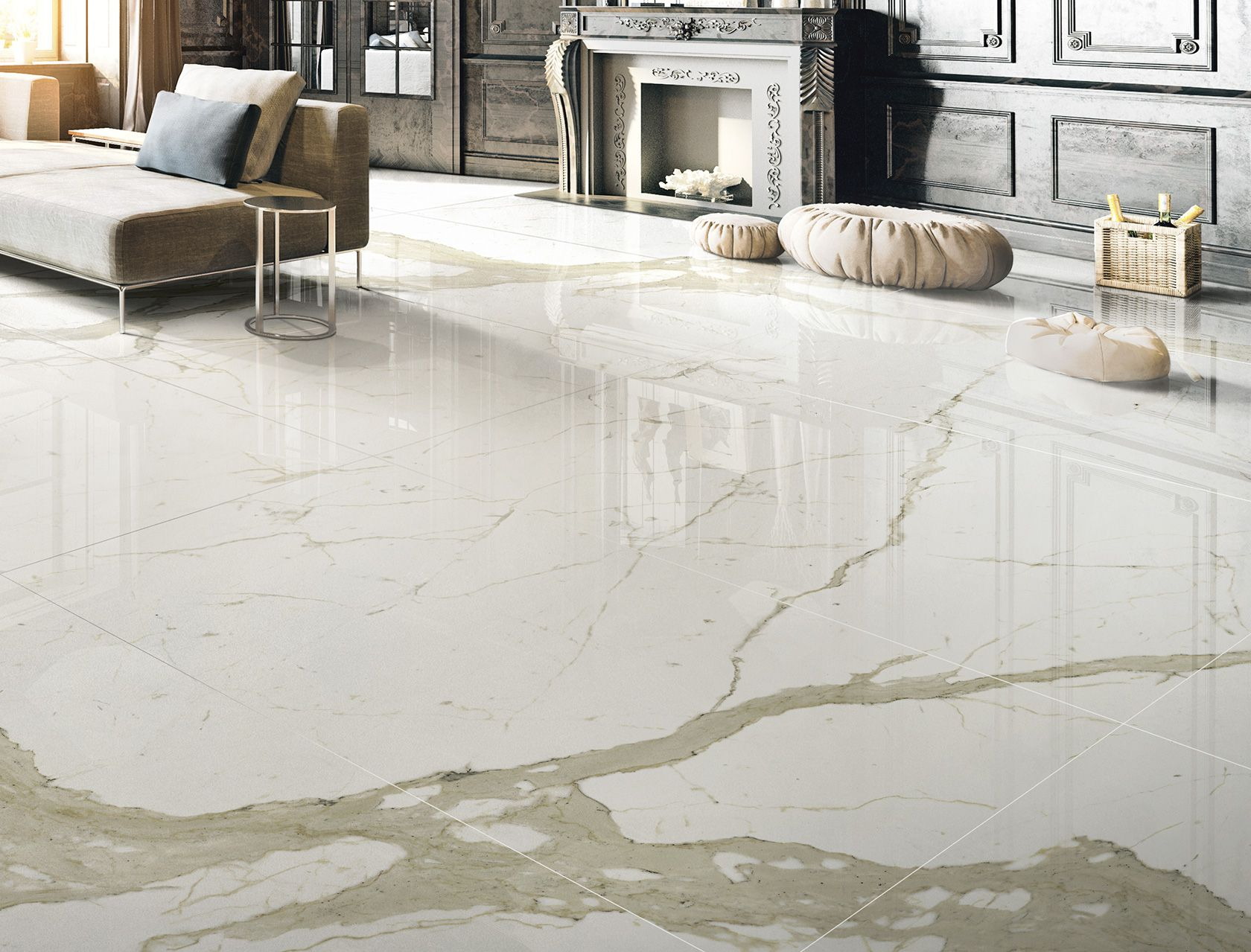 Marble Effect White Porcelain Tiles Bianco Calacatta