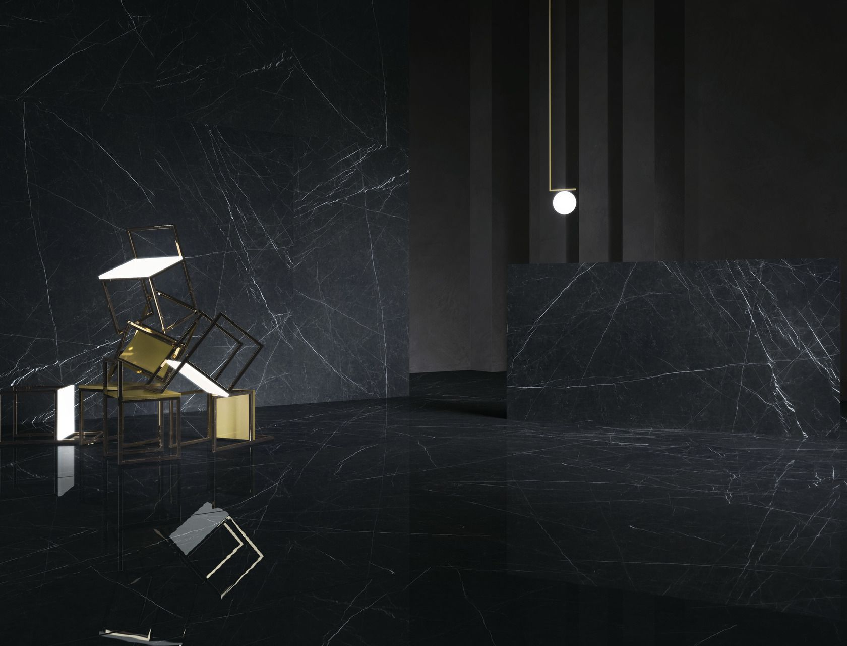 Marble Effect Black Porcelain Tiles Nero Marquinia