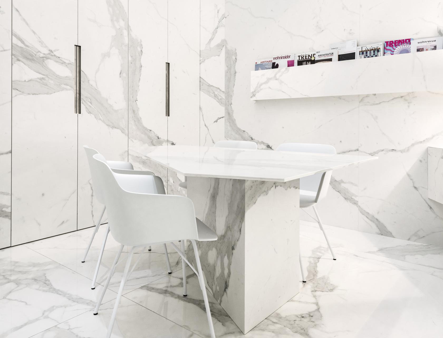 Bianco Calacatta Ultra Marmi White Marble Effect Floor
