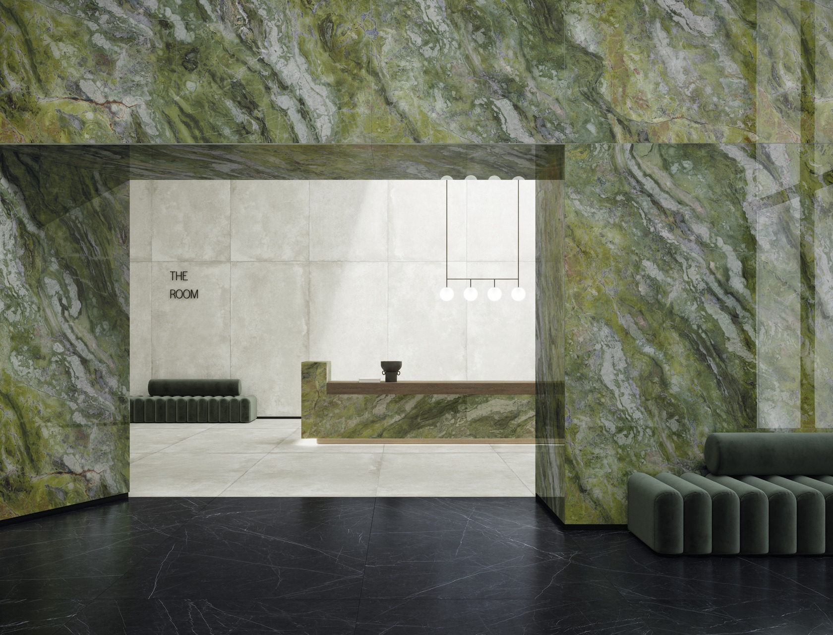 Big Porcelain Slabs Ultra Marmi Brilliant Green Marble Effect