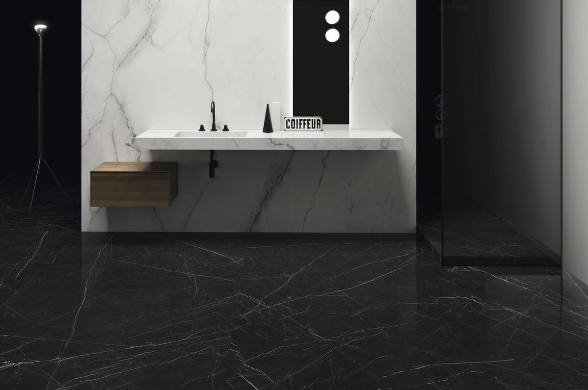 Nero Marquinia Ultra Marmi Black Marble Effect Floor And