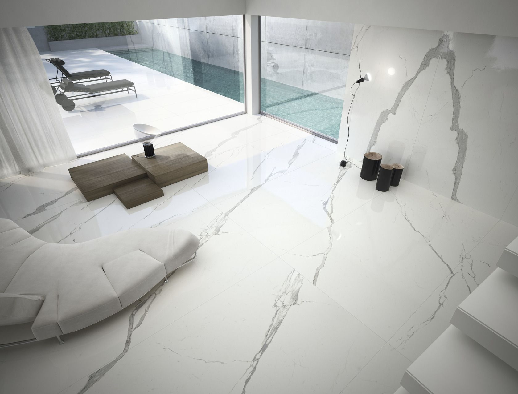 Marble Effect White Large Slabs Statuario Ultra